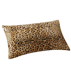 Rectangular Silk Solid Color Leopard Print Pillow Cases Cushion Cover Home Decor