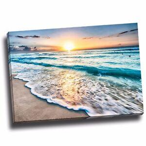 Framed Beach sea canvas beach to the ocean print art reflected sun rise down
