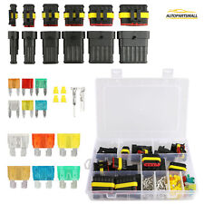 Waterproof 1-6 Pin Way Electrical Car Auto Wire Connector Plug Kit + Blade Fuses