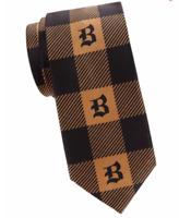"Brioni ""B"" Logo Monogram Buffalo Check Silk Tie Silk Tie Black Camel  3,25"""