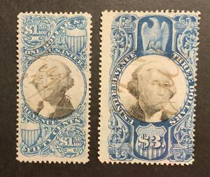 TDStamps: US Revenue Stamps Scott#R120 R125 Used #R120 Lightly Crease