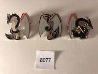 New Enamel World Dragon Pins, Set of 3