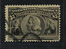 CKStamps: US Stamps Collection Scott#245 $5 Columbian Used Tiny Thin CV$1150