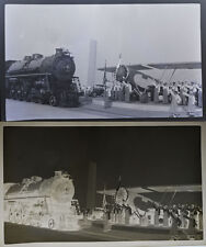 ANTIQUE NEGATIVE OF LOCOMOTIVE AND AIR PLANE 1934 WORLDS FAIR.