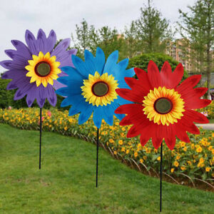 Double Layer Sunflower Windmill Wind Spinner Kids Toys Yard Garden DecoratioBBI