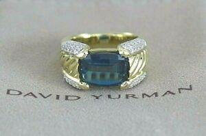 $4,150 David Yurman 18K Yellow Gold Blue Topaz 0.55ct Diamond Band Ring Size 6