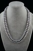"Dr. Pearl 48"" long 10-11 mm Round Baroque Gray Freshwater Pearl Necklace"