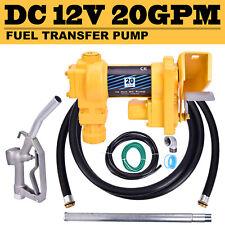 Gasoline Fuel Transfer Pump Gas Diesel Kerosene Nozzle Kit 12V DC 20gpm 2600RPM