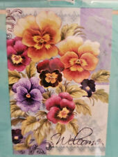 """New listing Meadow Creek Welcome Pansys Flowers House yard Flag 29"""" X 43"""""""