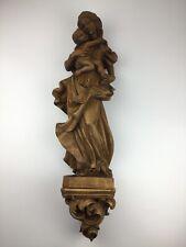 Heiligenfigur Holz geschnitzt Heilige Maria Madonna Jesus Figur Skulptur Konsole