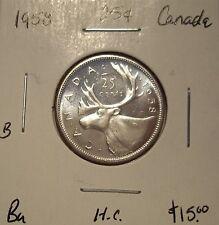B Canada Elizabeth II 1958 Heavy Cameo Silver Twenty Five Cents - BU