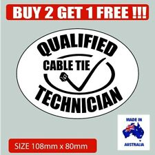 Qualified cable technician funny bumber sticker 4x4