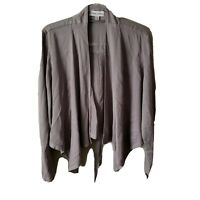 Knox Rose Women's L Solid Gray Lace-Up Back Drape Front Jacket