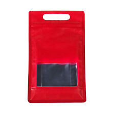 25/50 Red with Clear Window Handle Stand Up Self Seal Bags Food Packaging Bag