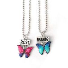 2pcs/set Women Charm Necklace Chain Drops of oil Glitter Butterfly Best Friends