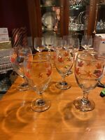 Four (4) Libbey Ice Tea /Water Goblets Fall Autumn Leaves Set Of 4