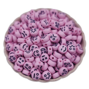 200Pcs 7mm Smile Smiley Happy Face  Acrylic Oval Spacer Beads  Jewelry Making
