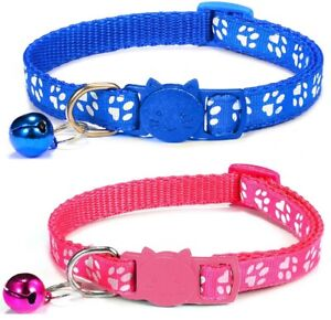 Cat Collars with Bell - Paw Print Design   Safe Quick Release / Breakaway Buckle