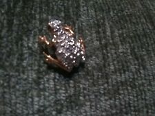 """Frog Tack Pin Goldtone / Clear Crystals 3/4"""" * New Without Tags"""