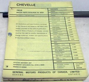 1964-1968 Chevrolet Chevelle Canadian Dealer Master Parts Catalog Book Orig