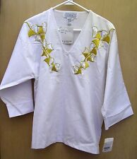 NWT PER-SE' Ladies White V-Neck Top -Gold Embroidery & Iridescent Sequins - Med.