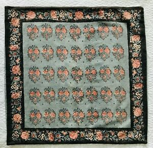 Pottery Barn Thaila Floral Linen Blend Euro Pillow Sham ~ EUC Blue Brown