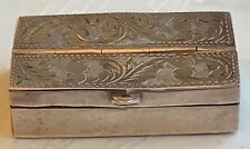 Antique sterling silver two sections pen nibs box. It has two hinged lids, each