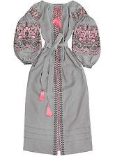 "Light gray embroidered dress - ukrainian vyshyvanka ""Oriental Beauty"". All sizes"