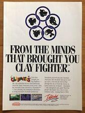 Claymates SNES Super Nintendo 1990's Vintage Game Poster Ad Art Clayfighter Rare
