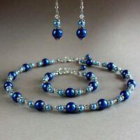 Dark blue ice blue pearl collar necklace bracelet earrings wedding bridal set