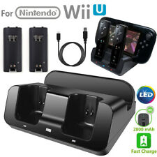 2x Battery + 3 in 1 Charger Dock Stand Station for Nintendo Wii U Gamepad Remote