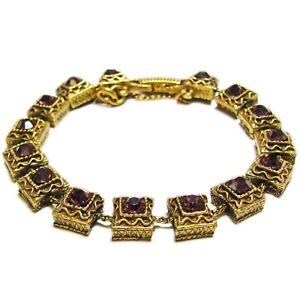 Vintage Goldette Purple Glass Stone Bracelet