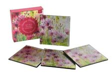 Set of 4 Glass Summer Meadow Square Coasters Floral Drinks Mat
