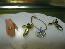 SAPPHIRE BLUE NECKLACE/GOLD DROP EARRINGS JEWELRY Set-RING FITS BARBIE Doll HAND
