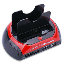 Dual Hard Drive HDD Docking Station &USB Stand Card Reader IDE SATA HUB+Cable