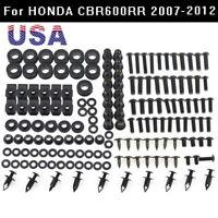 US For Honda CBR600RR 2007-2012 2008 Stainless Fairing Bolts Screws Kit Black