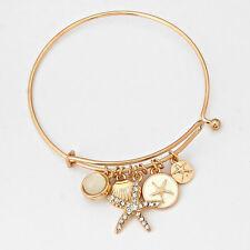 Starfish Charm Bangle Bracelet GOLD CREAM Nautical Sea Life Beach Metal Jewelry