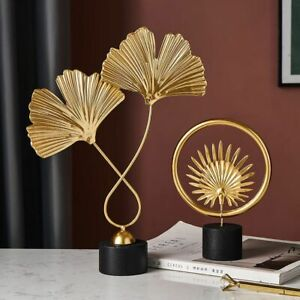 Creative Gold Home Decoration Accessories Modern Flower Ornaments Miniature Gift