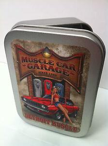 Muscle Car Garage, 70s Pinup Girl Cigarette Tobacco Storage 2oz Hinged Tin