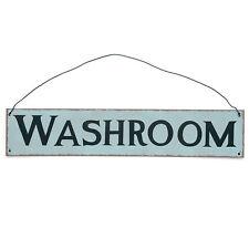 dotcomgiftshop WASHROOM METAL SIGN. HANGING TOILET WC BLUE METAL SIGN