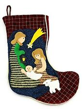 Vintage Christmas Crib Gift Candy Blue Brown Stockings Sock Xmas Decor Large