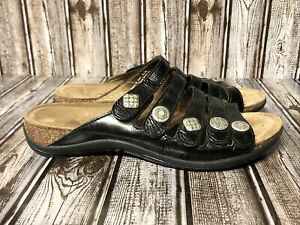 Dansko Janie Sandals Slide Sz 40 / US Sz. 9.5-10 Pewter Leather Slip On 5 Strap