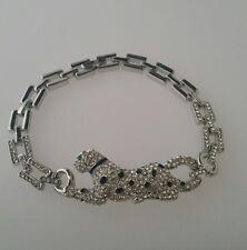"""Armband """"Leopard"""" 20cm Messing Versilbert Rhodiniert Emaillé Kristalle"""