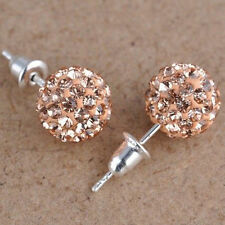 10 mm Austria Crystal Shiny Pave Disco Clay Ball Beads Ear Stud Earrings Gifts