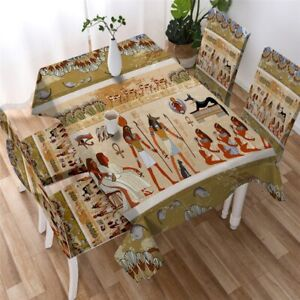 Egypt Egyptian Tribal Africa Rectangle Tablecloth Chair Covers Dining Table Set