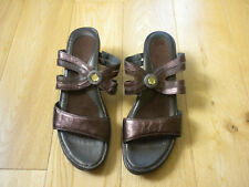 NAOT SANDALS-SLIP ONS-WOMENS SIZE 41-US 10-HEEL-BROWN-LEATHER-EXCELLENT!!