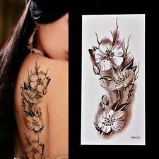 Flash Einmal Temporary Klebe Tattoo Blumen Schwarz Lila Körper Body Geschenk