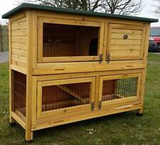 LARGE RABBIT HUTCH GUINEA PIG HUTCHES RUN 2 TIER DOUBLE DECKER CAGE ROGER XL