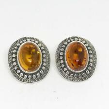 Vintage Sterling Silver Amber Clip On Earrings