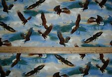 Cotton Fabric Wild Wings Soaring Eagles Mountains Clouds Majestic  BTY